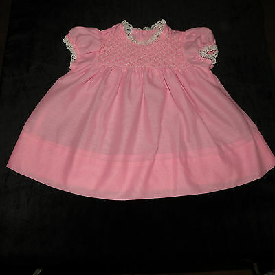 Sweet Vintage Polly Flinders Hand-Smocked Baby Dress Pink Lace Trim 18 M Evc