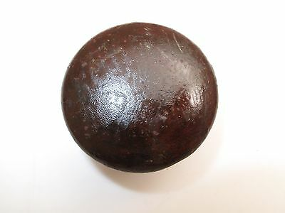 "Antique Wood Drawer Pull Knob 2 1/8 "" D  Mahogany Cherry 1800's K9 Empire Button"