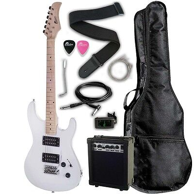 """Raptor 39"""" Full Size EP39 Deluxe Electric Guitar Package WHITE + Digital Tuner"""