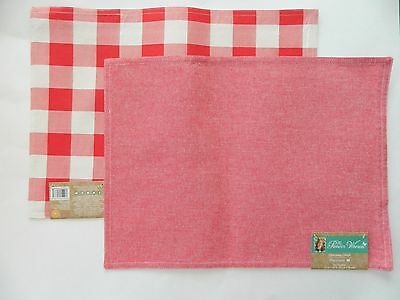 Lot of 4 Pioneer Woman Placemat Reversible Charming Check Red White Shabby New