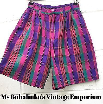 Vintage 90s Pink Plaid Check High Waist Shorts Size 6 Preppy Boho