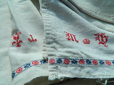 Antique Hemp homespun canvas embroidered old 1800's Interior designer Hungary