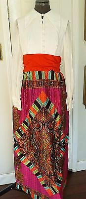 Vintage 60s Maxi Flower Power Hippie Boho Festival Psychedelic Dress Sheer M L