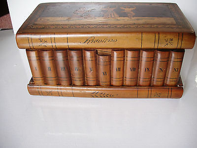 Antique / Vintage ? Wooden Box With Inlaid Musician And Dancers On Lid  - Lined
