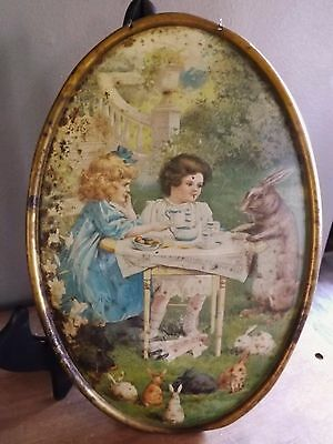 1897 C D Kenny Coffee  Tin Litho Advertising Tray Wall Plaque Easter Rare