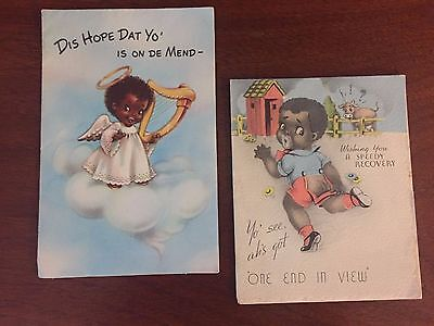 2 Vintage Black Americana Greeting Cards