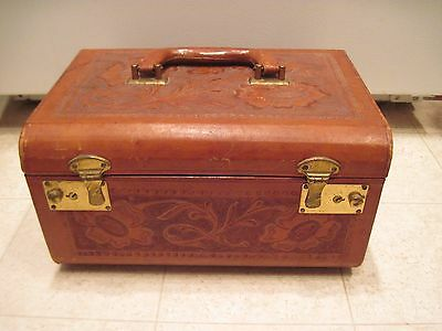Vintage Leather Hand Tooled Train Travel Cosmetic Case