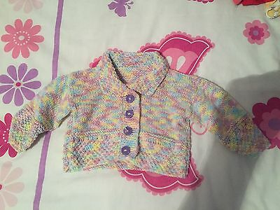 hand knitted baby cardigan In White & Lilac