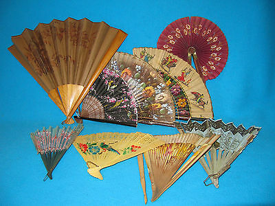 Lot Of 9 Vintage Antique Hand Fans-Hand Painted Cloth Paper Wood Plastic As Is