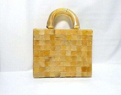 Vintage Lucite Purse Faux Shell Small Hand Bag Evening Purse