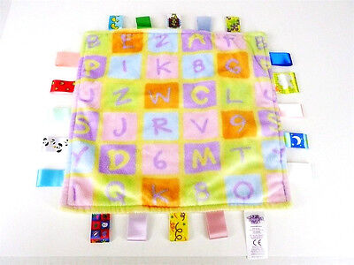 Little TAGGIES 12x12 ABC Block Baby Blanket Minky Yellow Authentic Tag Lovey