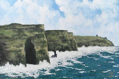 irish art, Original Painting,Cliffs of Moher,Co Clare,by Gerry Dillon,Ireland