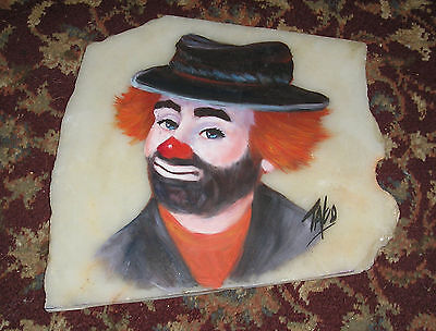 Vintage Clown Painting on Alabaster Stone Signed by artist.