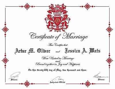 Custom Certificate Of Marriage Customized Marriage Certificate Royal Marriage