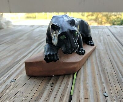 Negotiable Black Panther Green eyes vintage decoration clay paperweight art