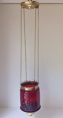 Antique Hanging Ornate Brass Hall Oil Lamp With Cranberry Swirl Shade Library