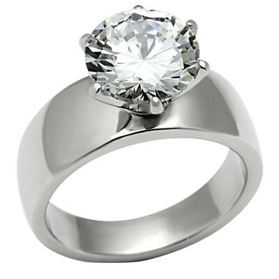 Stainless Steel High Polish Solitaire Round Cut Cubic Zirconia Ring sz 5-10