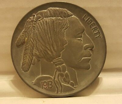 "1913 Large 3"" Indian Head Nickel Coin Souvenir Dull Buffalo"