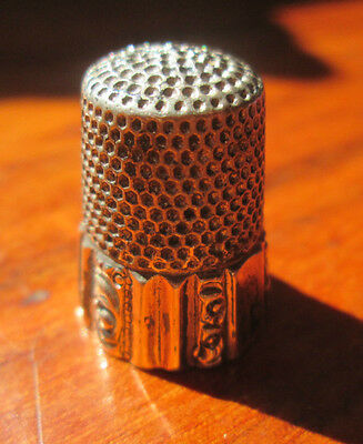 Antique Sterling Silver Thimble Monogramed MKD Stamped Sterling Size 7 NM