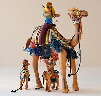 """Set 3 Vintage Handmade Leather Camels with Arab Riders Figures 10"""" & 4"""" Tall"""