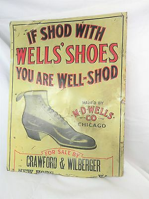 Old RARE Vintage M.D. WELLS SHOE CO 1904-1911 Advertising Metal Sign WELLS SHOES