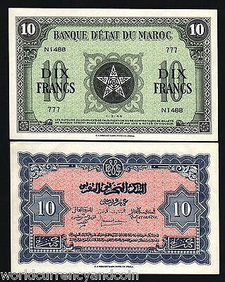 MOROCCO 10 FRANCS 1944 FRANCE 5 POINTED STAR UNC CURRENCY MONEY NOTE FreeShiping