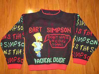 THE SIMPSONS Bart Simpson Ugly Sweater Youth Small/S Vintage 1990's Radical Dude