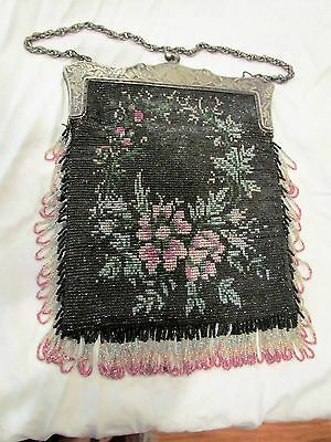 Purse Bag Antique Micro Beaded Scenic Floral with NIC Silver marked frame
