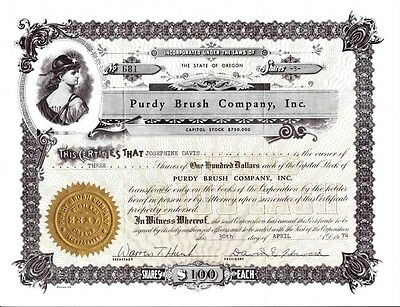 PURDY BRUSH COMPANY, INC.  Stock Certificate Dated 1992