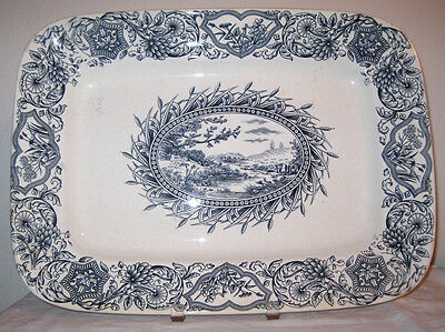 "Antique Aesthetic Movement Grindley Ideal 18"" Platter England 1883 Tunstall Iron"