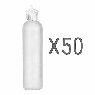 Empty Bottles 8 Oz Turret Style HDPE Plastic Closure Top BPA Free White Pack-50