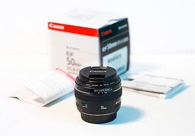 Canon EF 50mm f/1.4 USM Lens with box condition good