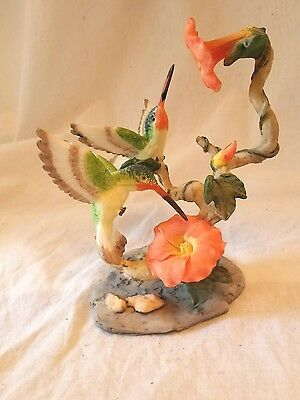 "Ruby Throated Hummingbird Birds Morning Glorys Figurine Very Detailed 6"" Tall"