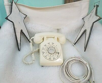 Vintage 1968 Western Electric White Rotary Dial Desk Phone Bell  500 -Nice!