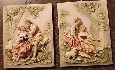 "K Inagaki 3-D ""Lovers"" and ""Two Women"" Porcelain Molded Plaques Set"