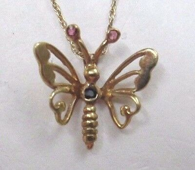 Nwt 14K Yellow Gold Ruby & Sapphire Butterfly Pendant Necklace 16""