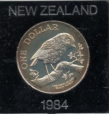 1984 New Zealand One Dollar Coin - Uncirculated In Original Sealed Case