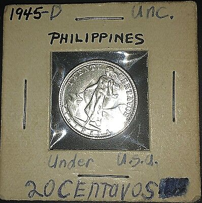 Brilliant Beauty Uncirculated 1945-D Philippines 20 Centavos Silver Coin Nice!
