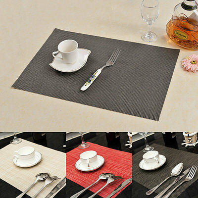 4pcs Dining Table Mat Pad Placemat PVC Insulation Tableware Anti-Slice Placemats