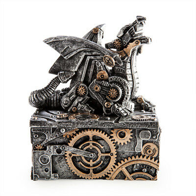 Steampunk Dragon Statue Trinket Jewellery Box Fantasy Gothic