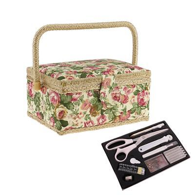 Floral Design Fabric Sewing Basket with Sewing Kit for DIY Sewing Mending