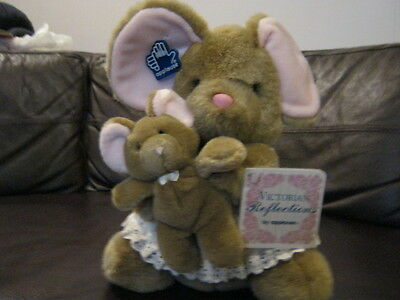 "Vintage Plush Mama Mouse with Baby 12"" by Applause-New-Last in Inventory"