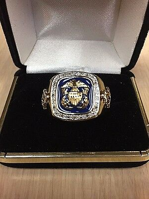 Valor and Glory US Navy Ring 14 Karat Gold Plated 12 Diamonds Chips