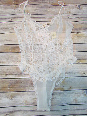 NWT Victorias Secret Small Bridal Teddy Ivory White Bejeweled Lace Sheer #D37