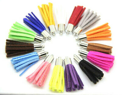 15pcs Mixed Suede Tassel Keychain Leather Tassels Silver Cap Straps DIY Charm
