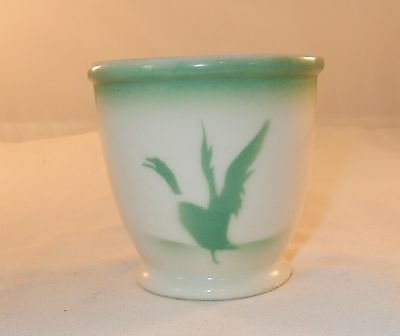 """Syracuse China USA EE-3 Egg Cup Airbrushed Green Ducks In Flight  3 1/4"""" X 3"""""""