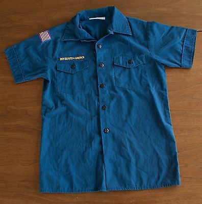 Official Boy Scouts Of America Youth Large Navy Blue Short Sleeve Shirt Uniform