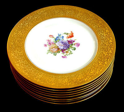 """8 Heinrich H&C CHARGERS 10 7/8"""" GOLD ENCRUSTED RIMS Floral Centers NEW PRICE"""