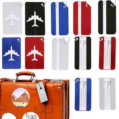 1x Aluminium Metal Travel Suitcase Luggage Baggage Tag Bag ID Name Address Label