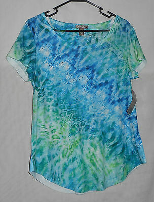 New Womens Size S Small 4/6 Short Sleeve Top Green Blue White Stag Geometric